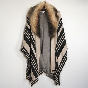 Merona Striped Cape with Faux Fur size Large